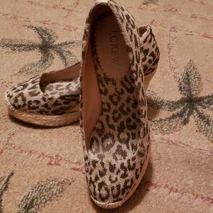 Leopard printed wedge espadrilles